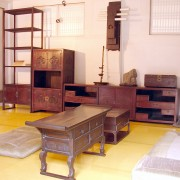 Interior of a home in the Namsangol Hanok Village, a restored Korean village located the central district of Seoul, South Korea where traditional houses have been preserved saving the original atmosphere of the area.  The Namsangol Hanok Village offers one the opportunity to experience a wide cross-section of Chosun-era citizenry and activities, from royalty to commoners and laborers. A great effort has been made to accurately furnish each dwelling with era appropriate appointments.